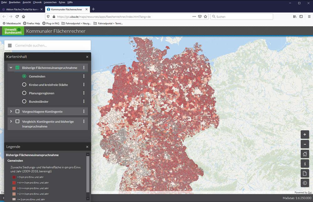 Screenshot des Flächenrechners